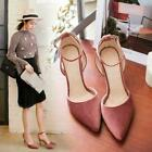 Womens Velvet Stilettos Ankle Strap High Heels Party Pointed Toe Shoes 2