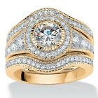2.73 TCW CZ Bridal Set in 14k Gold over .925 Sterling Silver