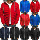 Men Padded Puffer Bubble Coat Warmer Jacket Zip Up Hooded Quilted Outwear Plain