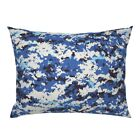 Blue Camouflage Pixelated Abstract Camo Pillow Sham by Roostery