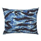 Blue Camo Tigerstripe Pillow Sham by Roostery