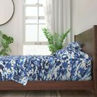 Blue Camouflage Pixelated Abstract Camo 100% Cotton Sateen Sheet Set by Roostery