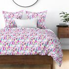 Rainbow Paint Canvas Abstract Neon Colorful Sateen Duvet Cover by Roostery
