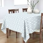Tablecloth Pale Blue Ikat White Ogee Trellis Pattern Worldly Boho Cotton Sateen
