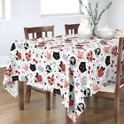 Tablecloth Tattoo Red Hearts Pattern Flash Rockabilly Rock And Cotton Sateen
