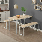3 Piece Dining Table Set With 2 Benches Wooden Kitchen Dining Room Furniture USA