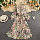 Women Pleated Dress Long Puff Sleeve Casual Florals Chic Vintage Fairy Elegant
