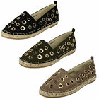 SALE LADIES SPOT ON CASUAL SLIP ON FLAT EVERYDAY CANVAS ESPADRILLE SHOES F80252