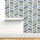 Removable Water-Activated Wallpaper Herringbone Geometric Blue Kids
