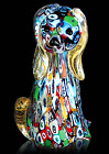 Murano Glass Sculpture Dog With Murrine Made IN Italy Piece Single