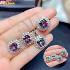 """Women's 925 Silver Plated Jewelry Set Sapphire Ring+earrings+necklace Gifts 18"""""""