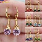 Gorgeous Gold Plated  Drop Earrings For Women Jewelry Peridot Sapphire 1 Pair
