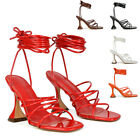 Womens Lace Up Sculptured High Heel Sandals Ladies Square Toe Party Shoes Size