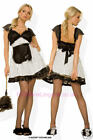 SEXY HUSTLER FRENCH MAID FANCY DRESS OUTFIT NEW S / M M / L