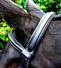 "FSS Comfort Soft Padded German Leather Straight Round Raised Browband 5/8"" BLACK"