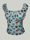 Turquoise cupcake gypsy top rockabilly 50s pin-up 8-18