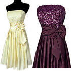 New Purple Cream Black Sequins Satin Formal Prom Cocktail Party Dress