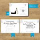 Personalised Funny & Affordable Wedding RSVP Cards Invites Bride Pulling Groom