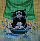 "Needlepoint canvas ""Sweet Cat is having bath"""