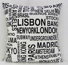 RETRO CUSHION COVERS BLACK AND WHITE NEW YORK PARIS LA