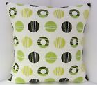 RETRO SPOTTED KHARKI LIME GREEN BLACK CUSHION COVERS
