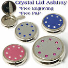 Personalised Pink Blue Crystal Lid Pocket Ashtray Engraved Free