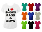 I Love Heart Shoes Bags and Boys Womens T-shirt NEW UK 6-18