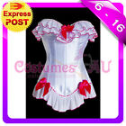 New Burlesque White Satin Bustier Lace up corset,g string, tutu skirt S-2XL