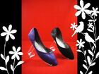 Purple  Black Pointy Toe Flat Shoes Size 5 6 7 8 9 10