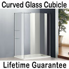 Walk In Shower Enclosure Curved 6mm Glass Cubicle Screen Side Panel Stone Tray