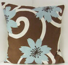BROWN AND DUCK EGG BLUE LARGE FLOWERED SCATTER CUSHION COVERS PILLOW COVERS
