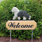 Old English Sheepdog Welcome Sign Stake. Home Yard & Garden Wood Products-Gifts.