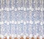 "POPPY FLORAL WHITE NET CURTAIN  Drop Sizes from 30"" to 90"" Price Per Meter"