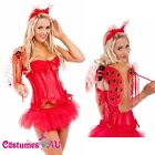 Ladies Red Lady Bug Ladybird Beetle Fancy Dress Halloween Party Costume Wings