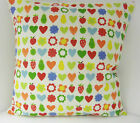 NEW SINGLE CUSHION COVERS RED HEARTS GREEN APPLE PEAR BLUE ORANGE COUNTRY STYLE