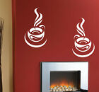 2 HUGE TEA COFFEE CUP STICKERS / KITCHEN WALL QUOTE /  PLAIN WALL STICKERS   N68