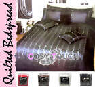 SOFT QUILTED FAUX SILK BEDSPREAD PILLOW SHAMS SET SEQUINS DESIGN DOUBLE KING