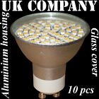 10 x GU10 - 60 SMD LED+glass cover  WARM / DAY WHITE Replaces 60W HALOGEN BULBS
