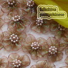 Brown Hard Orange Flower With Beads Sewing Scrapbooking Appliques Trims JMOG