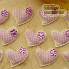 Purple Gingham Heart Felt Appliques Padded Craft Sewing Scrapbooking Trim APQA
