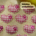 Hot PInk Gingham Heart Lace Appliques Padded Craft Sewing Scrapbooking Trim New
