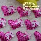Red Heart With Bow Sequin Appliques Padded Craft Sewing Scrapbooking Trim New