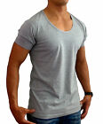 NEW MENS PLAIN GREY DEEP SCOOP NECK T SHIRT SLIM FIT CASUAL MUSCLE GYM TANK
