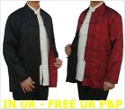 REVERSIBLE ASIAN CHINESE MANDARIN COSTUME COAT JACKET KUNG FU TAI CHI BLACK RED
