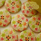 Heart FLower 30mm Wood Buttons Sewing Scrapbooking Craft D010