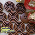 Brown Rings 4 Holes 22mm Wood Button Sewing Scrapbooking Craft C011