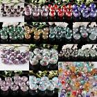FACETED MURANO LAMPWORK GLASS W/ FLOWER ROSE 8X12MM LOOSE SPACER BEADS FINDINGS