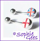 1.6mm ENGLAND ST GEORGE FLAG or BRITISH UNION JACK LOGO BELLY NAVEL BAR PIERCING