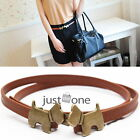 Fashion Ladies Womens Cute Kiss Dog Buckled Faux Leather Thin Belt Waistband New