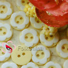 Yellow 2 Holes 12mm Flower Plastic Buttons Sewing Craft Scrapbooking PCB-A06